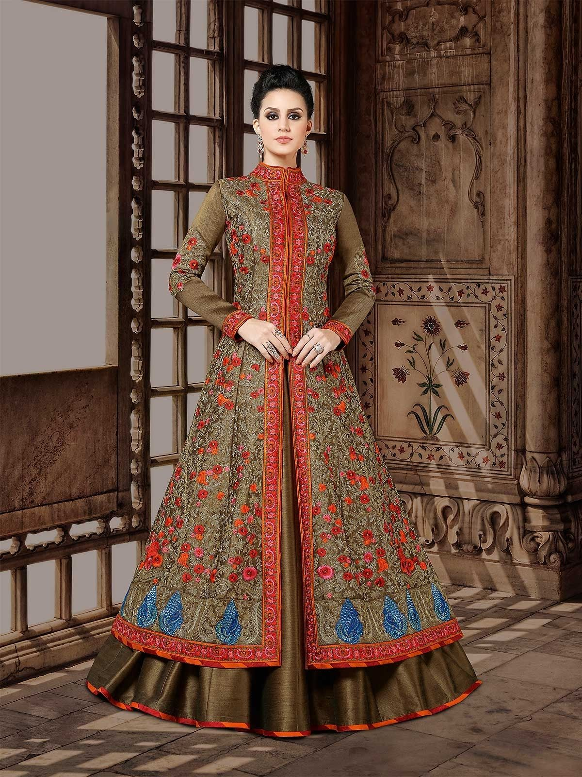 8b3f28779c8 Buy olive green designer floor length anarkali suit online for wedding with  sanctified thread embroidery work. Shop from extensive collection of indian  ...