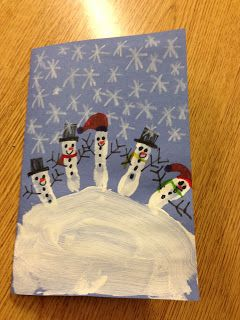 Cheap & easy holiday card. Piece of blue construction paper +white paint & crayons+sharpie markers.