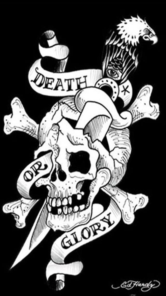 Skull Tattoo Iphone Wallpaper Hd Ed Hardy Tattoos Tattoo Posters Ed Hardy Designs