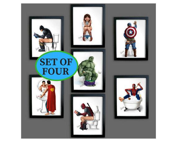 Set 4* SUPERHERO BATHROOM Prints Thor Hulk Pooping Superman Spider