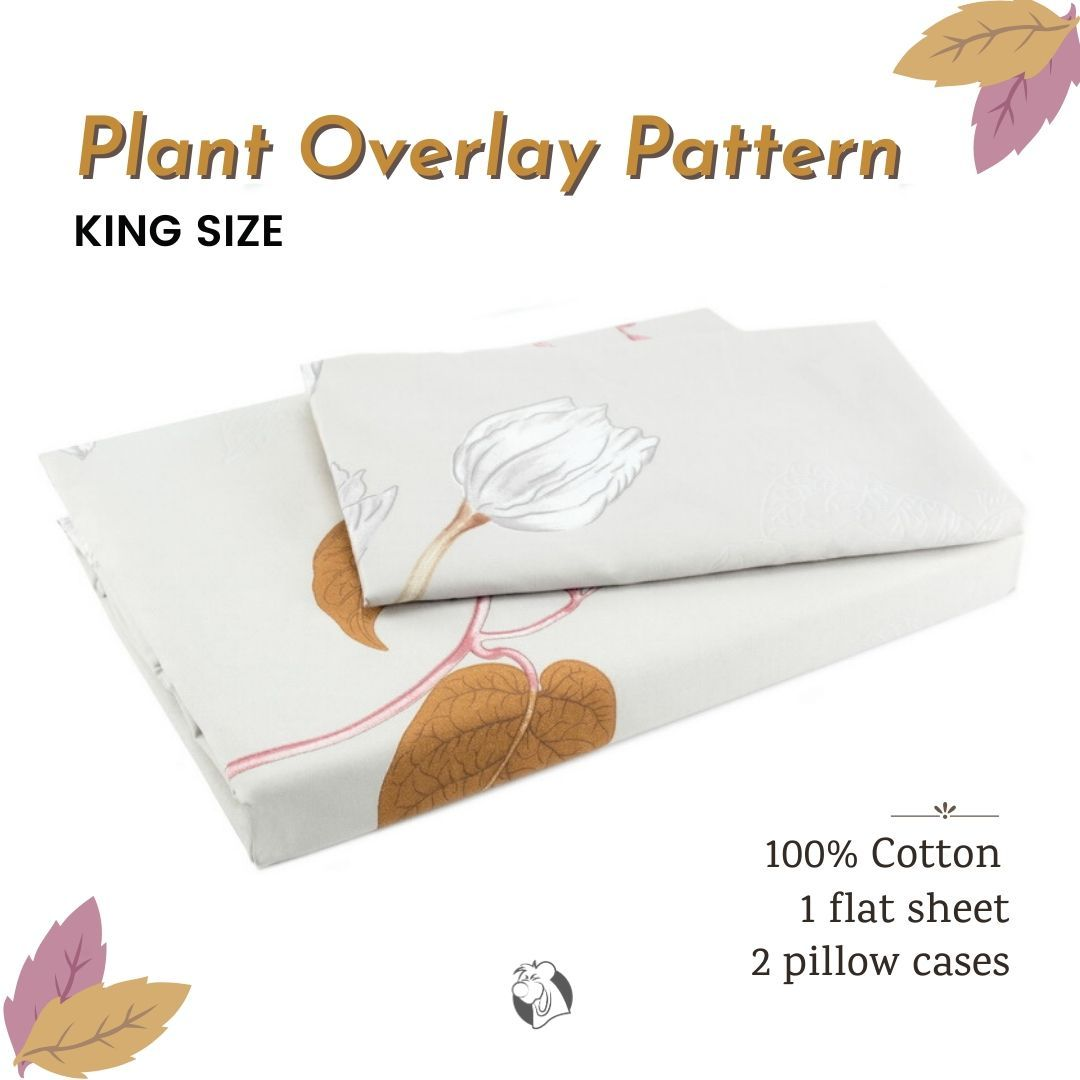 The stunning style of #bedsheet set flaunts a #plant #print against a soft light-coloured ground with grey flower, red, brown soil #colour #leaves for a #classic and eye-catching look. The Plant #Overlay print sheet for #kingsize dimension is made of 100% #cotton and with 230 #threadcount, it could bring to your sleep a soft and #comfortable feel. #balooworldotca #handmade #instatextiles #instahandmade #bedding #cottonbedsheet #fittedsheet #flatsheet #instahomedecor #intsahome #instabedroom