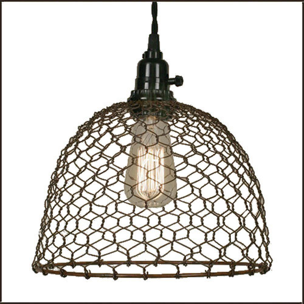 Wiring Further Ceiling Lights Wires Along With Chicken Wire Dome Pendant Light In Primitive Rust Fixtures Amazoncom