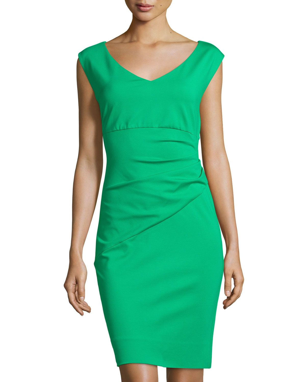 Diane von Furstenberg Bevin Cap-Sleeve Ruched Sheath Dress, Spring Green, Women's, Size: 14, Spring Gre