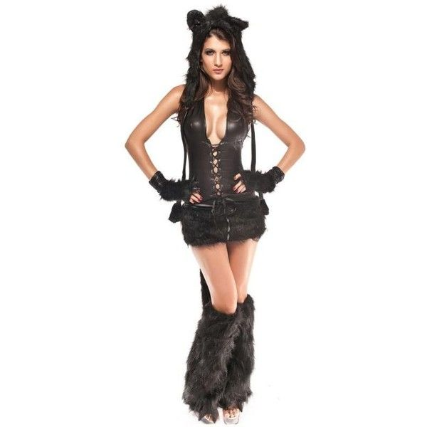 Sexy cat-woman cosplay costumes deep V-neck cloth YR-8514 black ❤ liked on Polyvore