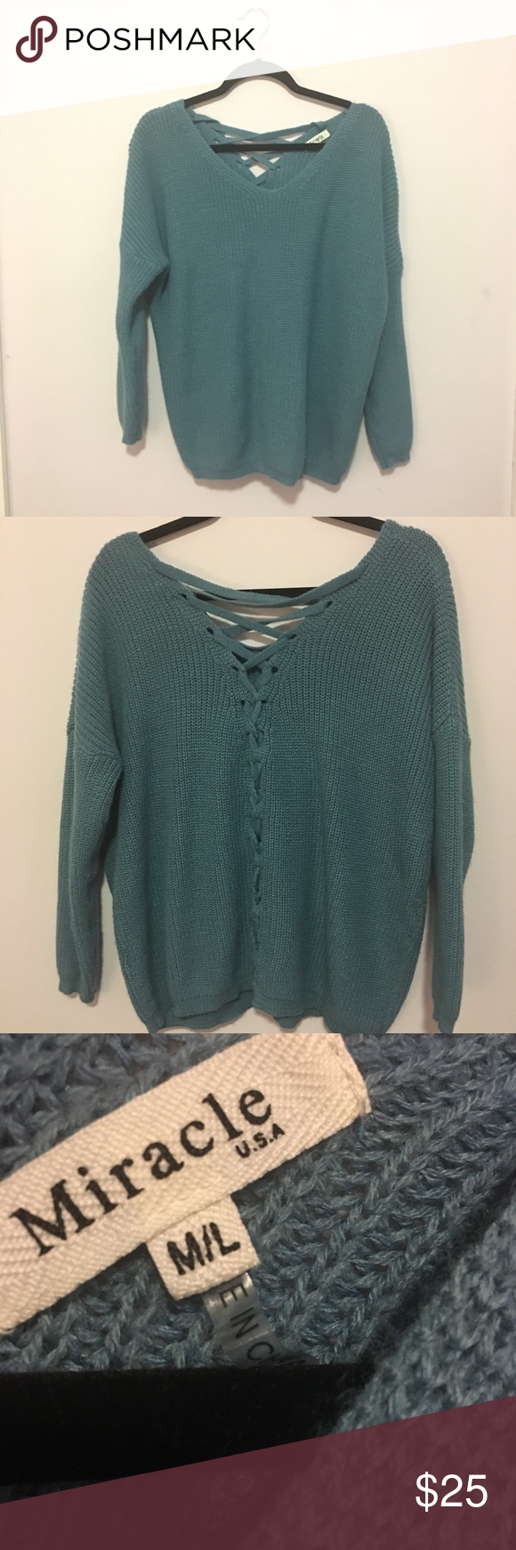 8d58937117 Miracle USA lace up back sweater in dusty blue Size M L Oversized fit Lace  up back detail Preowned but very good condition Color is a light blue   dusty blue ...