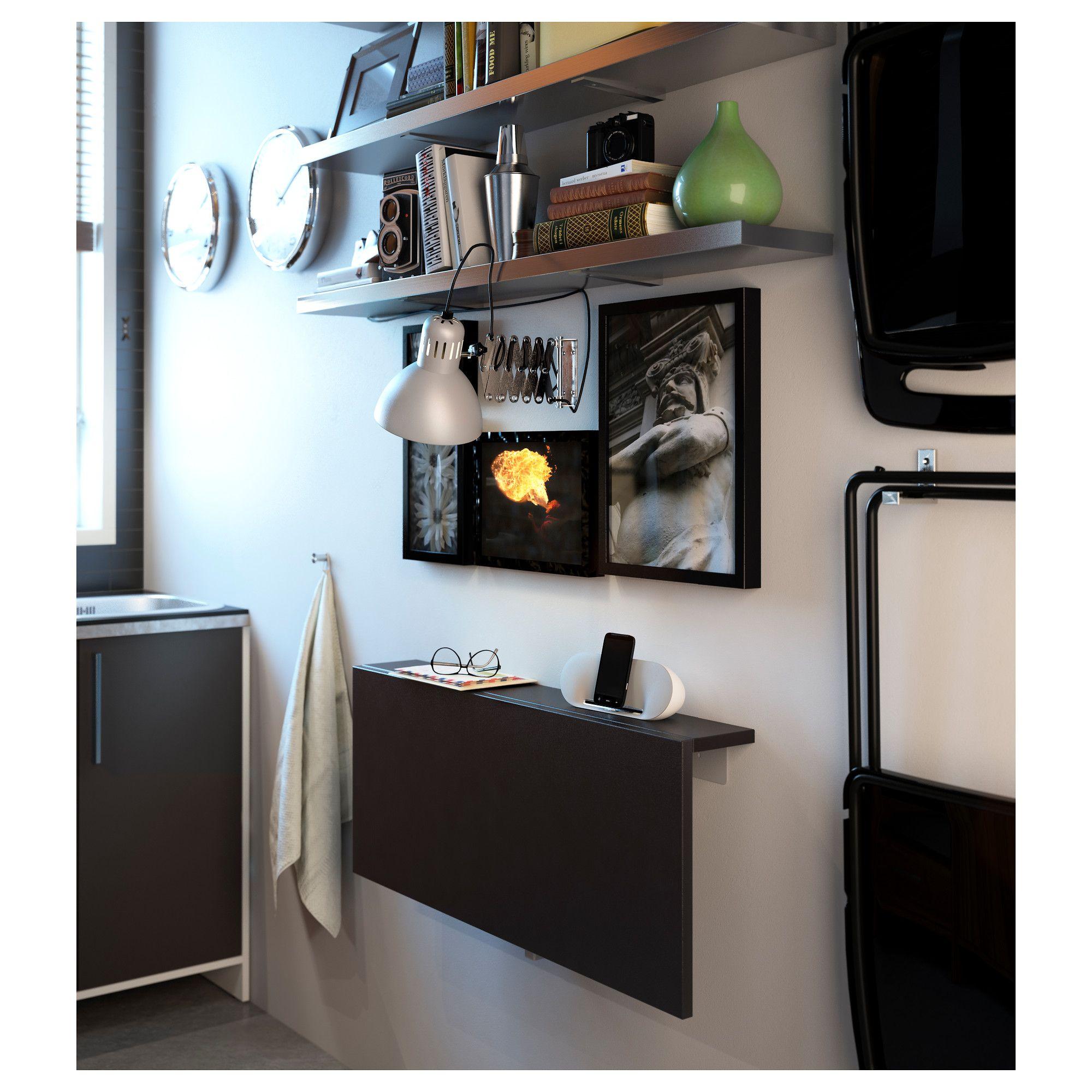 Ikea muddus klapptisch  BJURSTA Wall-mounted drop-leaf table, brown-black | Drop leaf ...