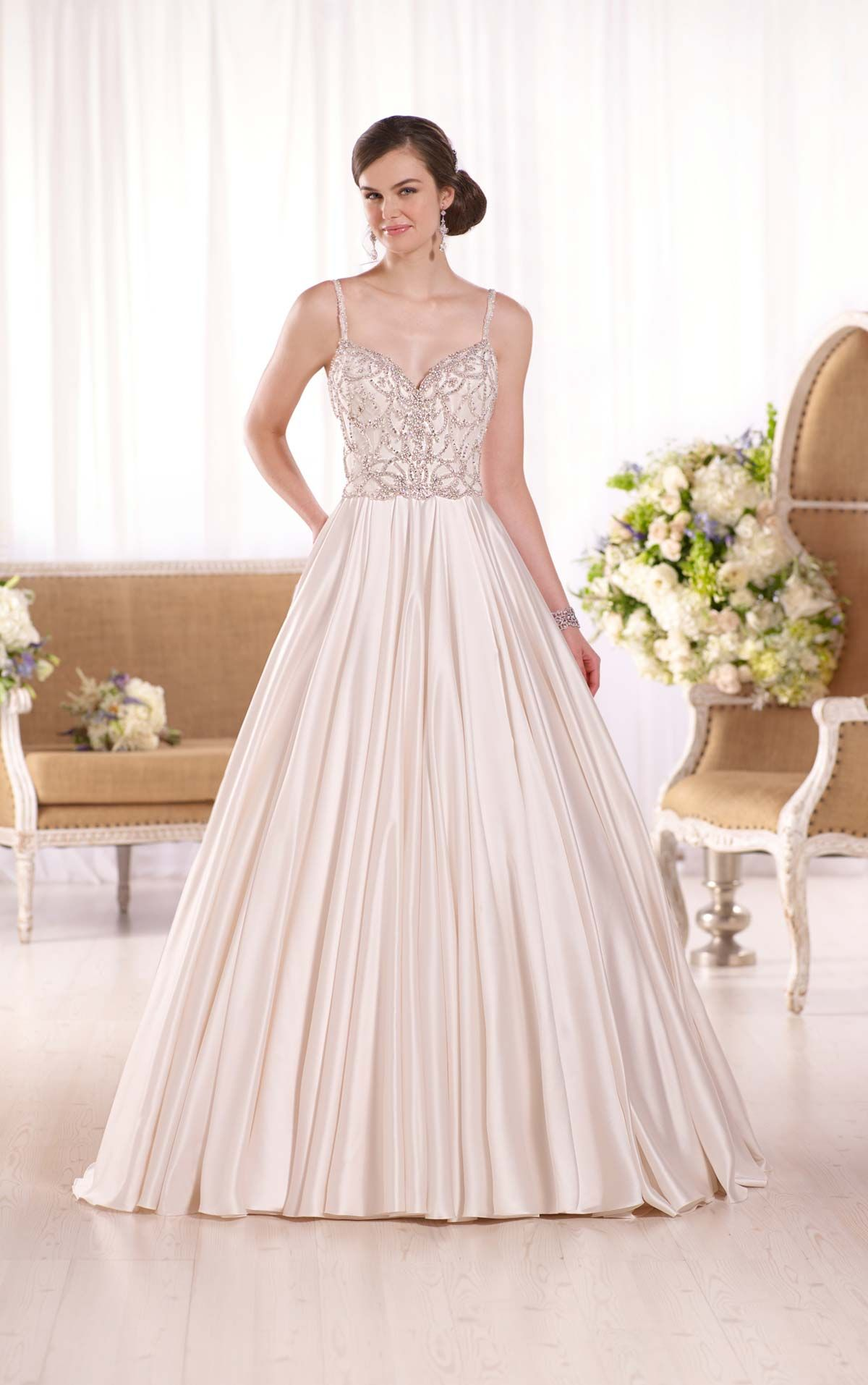 Palatial and sophisticated, this Luxe satin bridal gown from Essense ...
