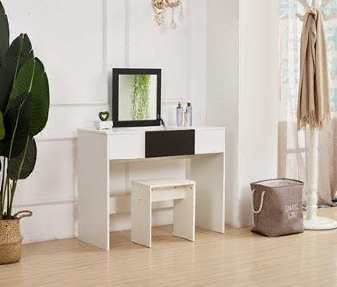 Details about Vanity Dressing Table With Mirror And Stool Set