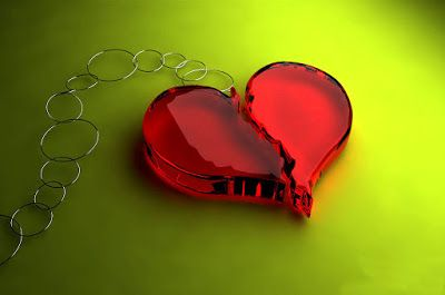 Broken Heart Key Ring Glossy Red Crystal In Two Pieces Seems Bleeding With Pain