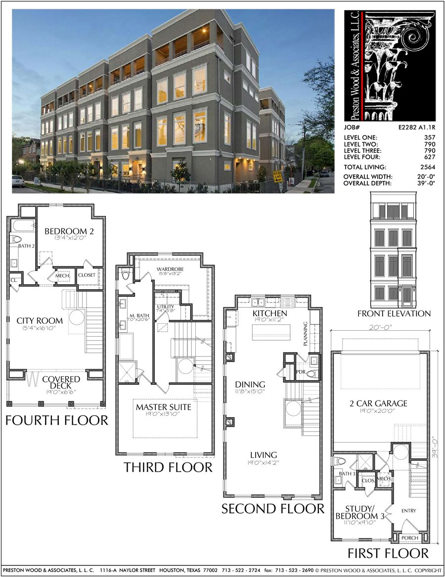 Four Story Townhouse Plan E2282 A1 1 Multi Storey Building Townhouse Town House Floor Plan