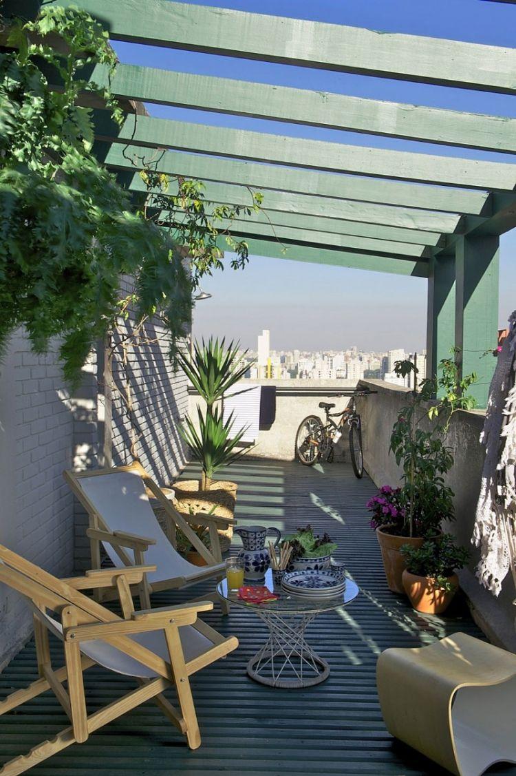 Balkonmobel Kleinen Balkon Platz Beschattung Holz Klappbar