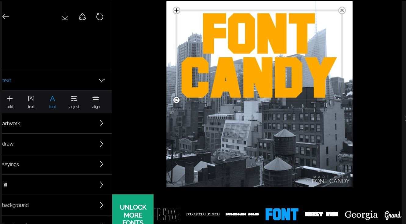 Font Candy EasyTigerApps Microsoft 10 Editing apps