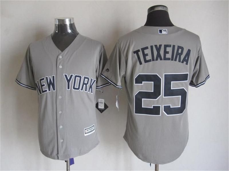 reputable site 53e86 39152 New York Yankees #25 Mark Teixeira Gray Away Road 2015 MLB ...