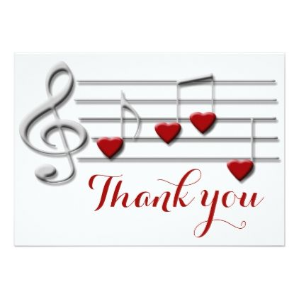 Thank You Calligraphy On Heart Music Notes Card Music