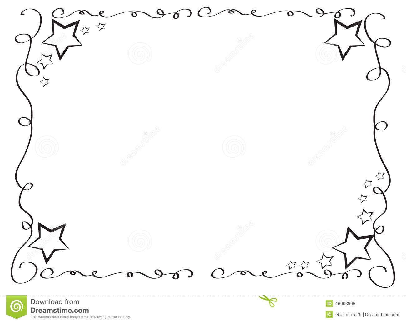 Black And White Star Border Clip Art Decorative Frame Border With