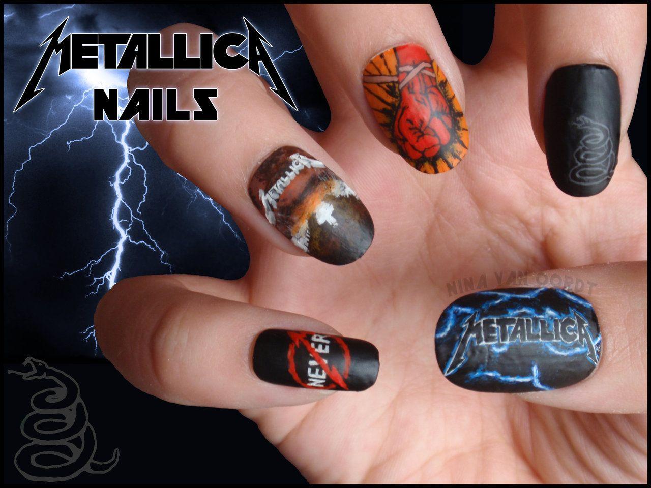 Metallica Nails By Jawsofkita Lovehim On Deviantart Band Nails Music Nails Rock Nails