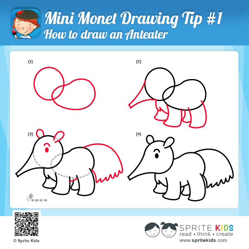 Kids Learn How To Draw And Anteater In 4 Easy Steps This Is A Free Coloring And Drawing Activity From The Mini M Kids Reading Drawing Activities Armadillo Art