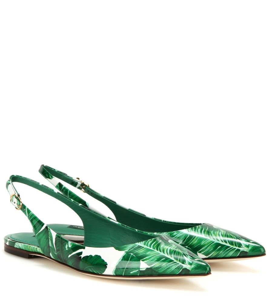 Dolce & Gabbana Printed Patent Leather Slingback Shoes