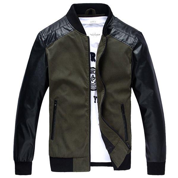 Sale 11% (48.62$) - Mens PU Splicing Sleeve Casual Fashion Baseball Jacket