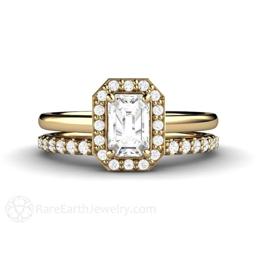 Rare Earth Jewelry Emerald Cut White Sapphire Wedding Set