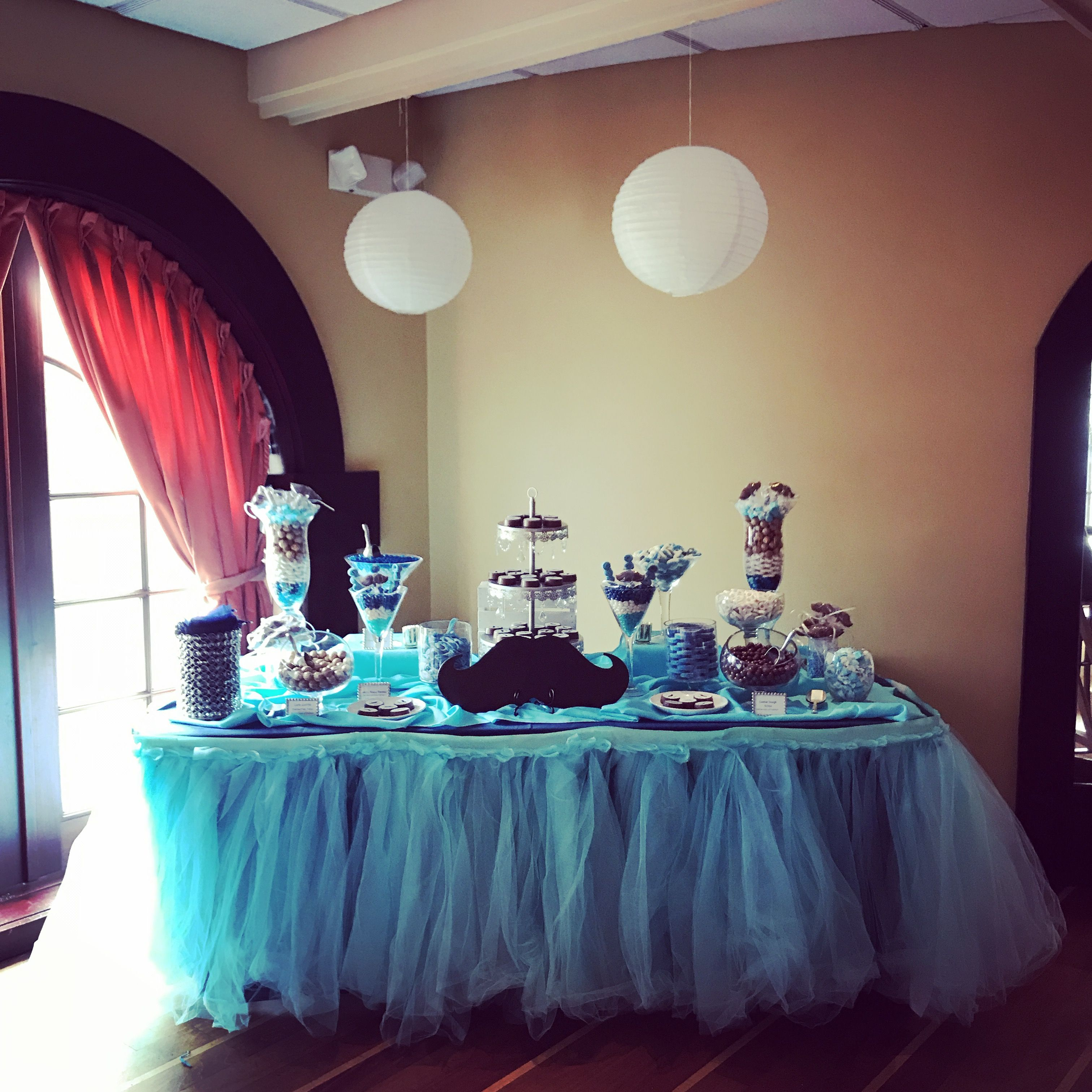 Baby shower candy table at Rue57 restaurant that we made