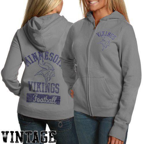 3756dcb28a4 Junk Food Minnesota Vikings Ladies Steel Gray True Vintage Distressed  Overdye Full Zip Hoodie Sweatshirt