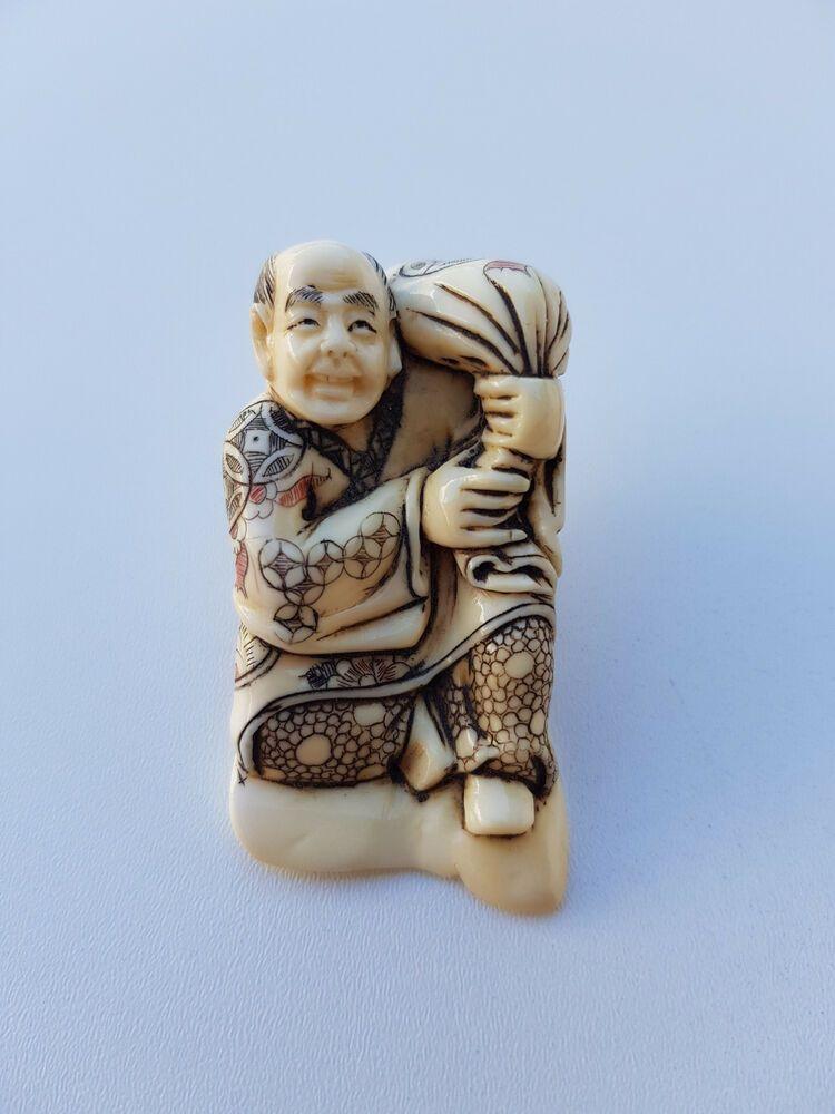 Antique Netsuke Hand Carved Bovine Bone China 18th Century Netsuke Bone Carving Carving