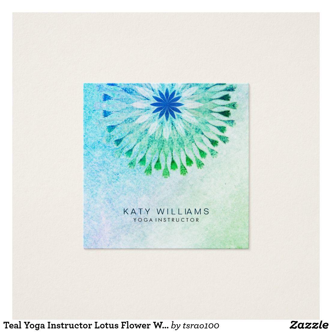 Teal Yoga Instructor Lotus Flower Watercolor Beach | Custom Yoga ...