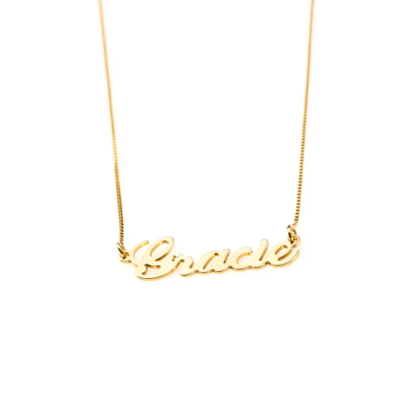 f164e0b6f ... Gold Plated Sterling Silver 'Gracie' name necklace with a Gold plated  Sterling Silver chain. A perfect addition of personalised jewellery,  handmade to ...