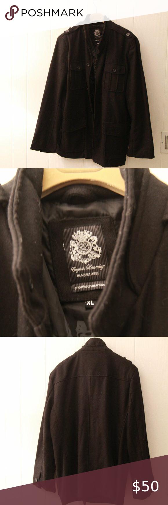 English Laundry Men S Pea Coat Jacket Size Xl Peacoat Jacket Peacoat Men Coats Jackets [ 1740 x 580 Pixel ]