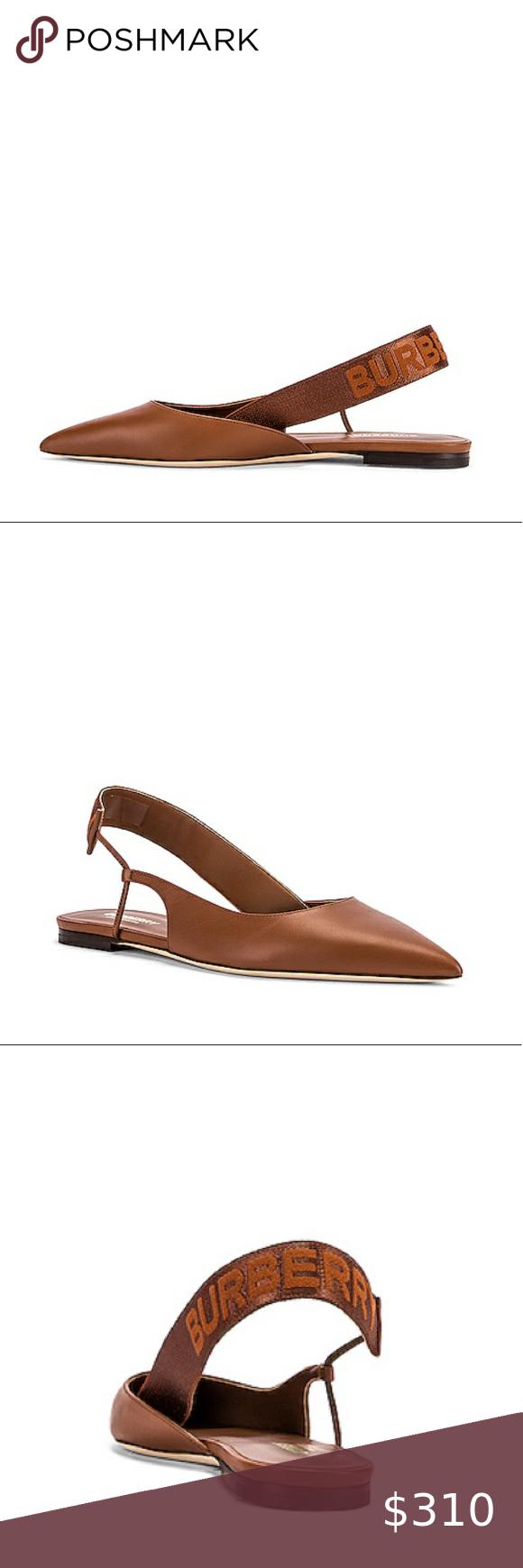 SALE⤵️Burberry Slingback Logo Leather Flats SALE⤵️