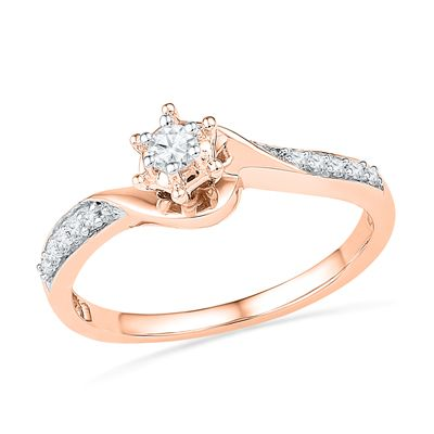 18c5ef204f9 1 6 CT. T.W. Diamond Swirl Frame Promise Ring in 10K Rose Gold ...