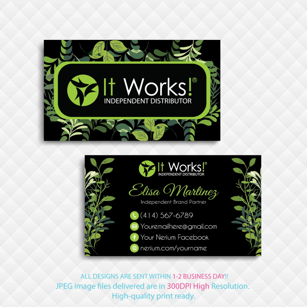 Personalized It Works Business Cards It Works Business Cards Iw09 Printable Business Cards It Works Personal Cards
