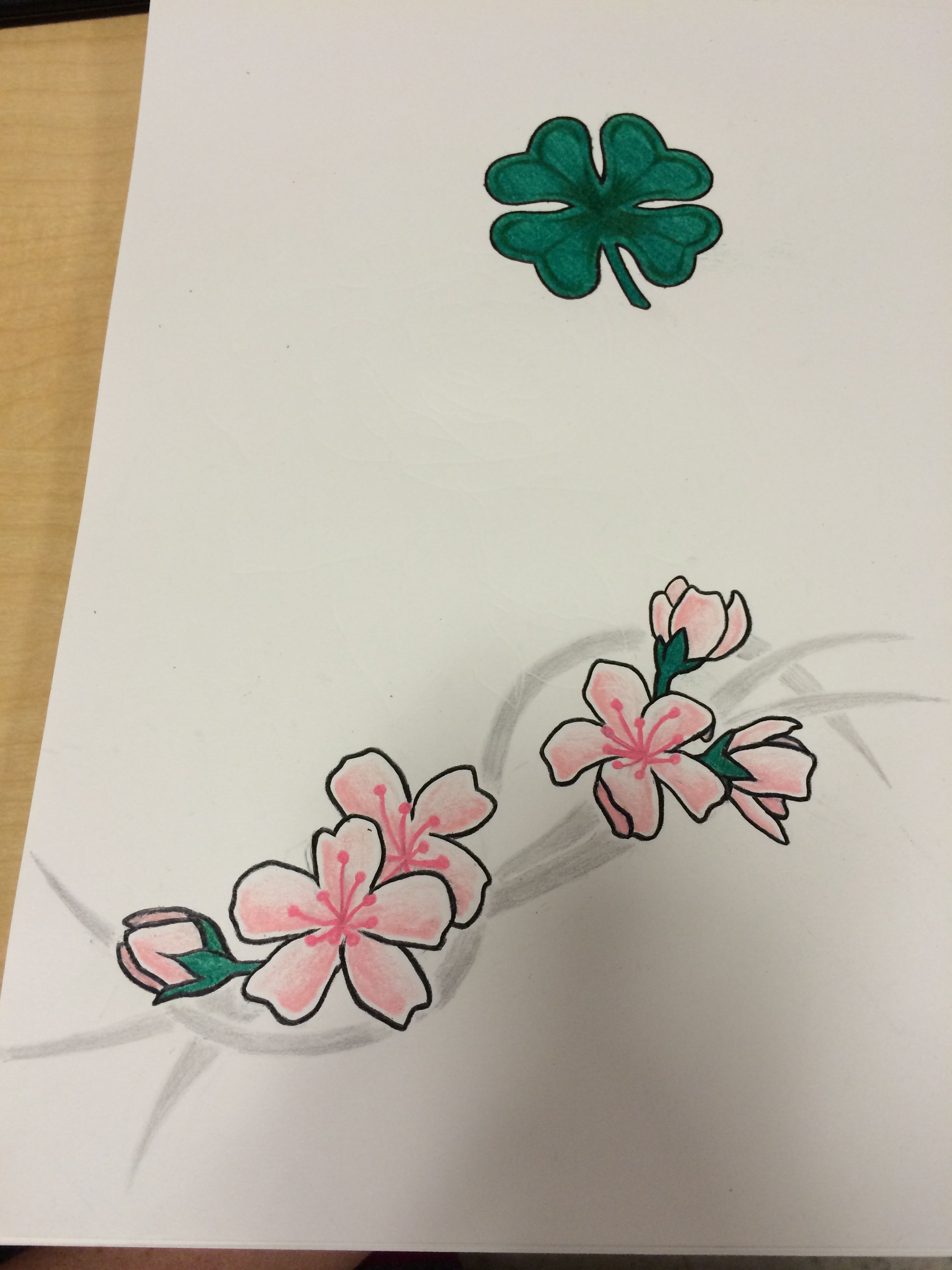 Some tattoo designs for my boss. #clover #fourleafclover #flowers #cherryblossom #tattoo #tattoodesign