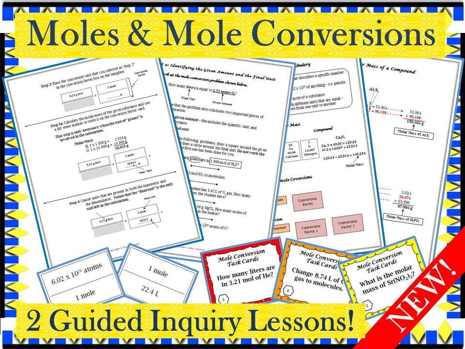Chemistry Moles And Mole Conversions Guided Inquiry Lesson Chemistry Education Chemistry Worksheets Chemistry Lessons