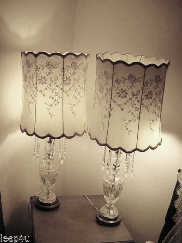 Vintage 1950's LEAD CRYSTAL TABLE LAMPS E. GERMANY~ITALY~BEVELED LONG PRISMS