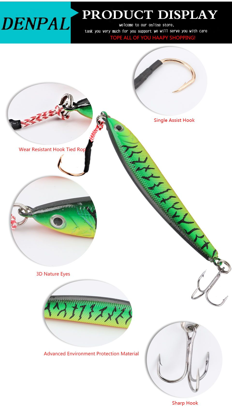 Simulation 3D fishing lure Lead Fishing Lure with Treble Hooks and A Single Hook