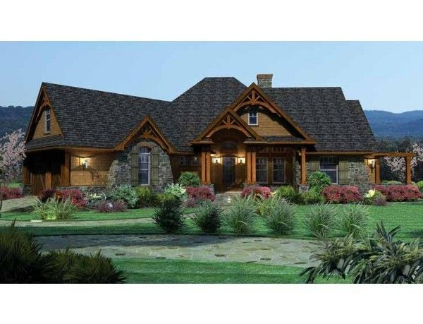 Modern Stone Ranch Style Houses With Garage On Side House Plans Bat