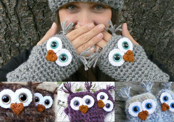 Diseñar su propio guantes Fingerless de buho con hilado de acrílico y los ojos de seguridad en tamaño normal o grande de mujer