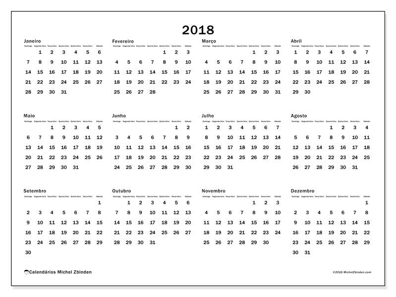 Livre calend rios para 2018 para imprimir brasil for Una puta con horario de oficina
