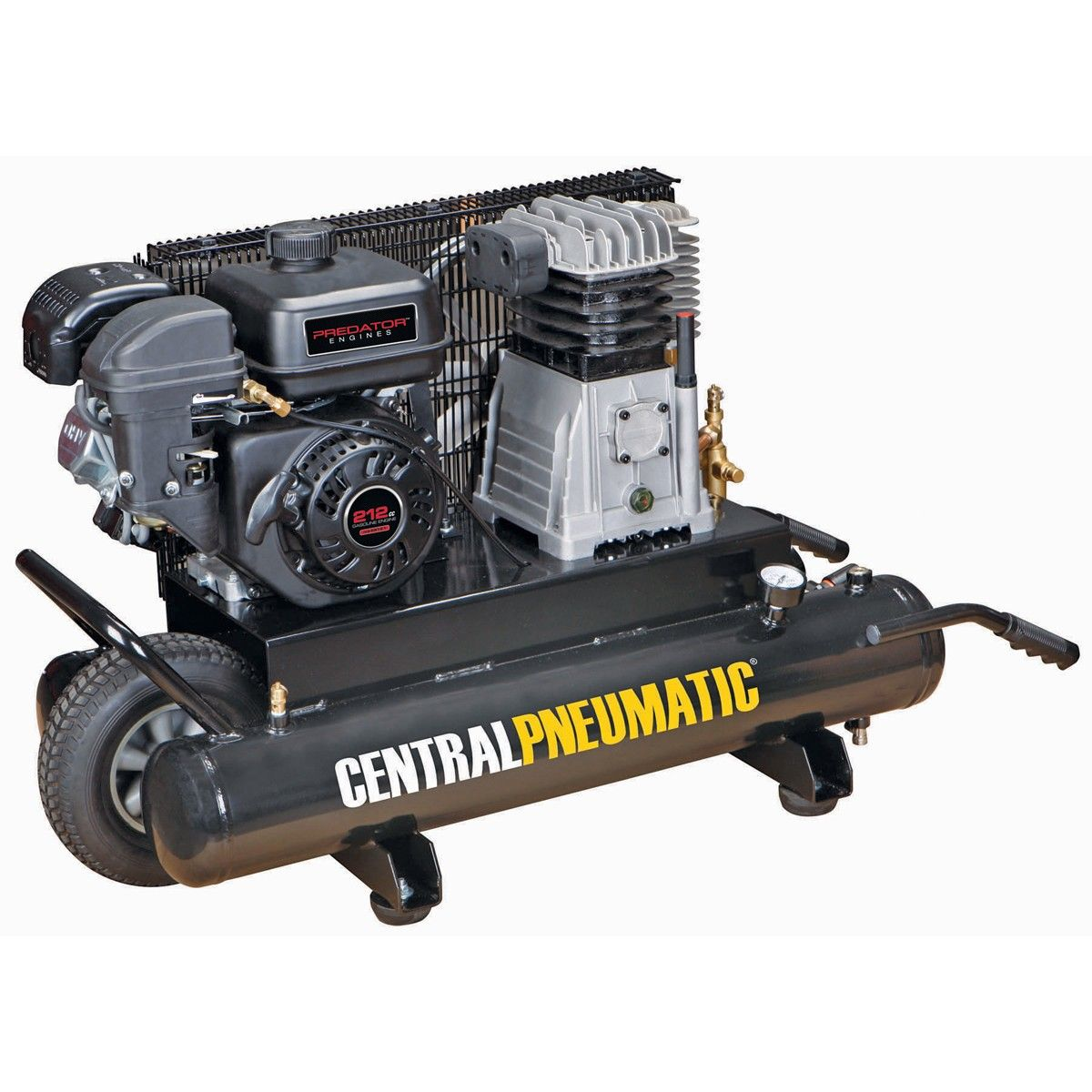 212 cc 9 gallon 135 psi gas powered wheelbarrow air compressor