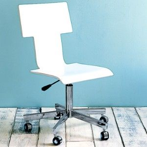 white leather West Elm desk chair