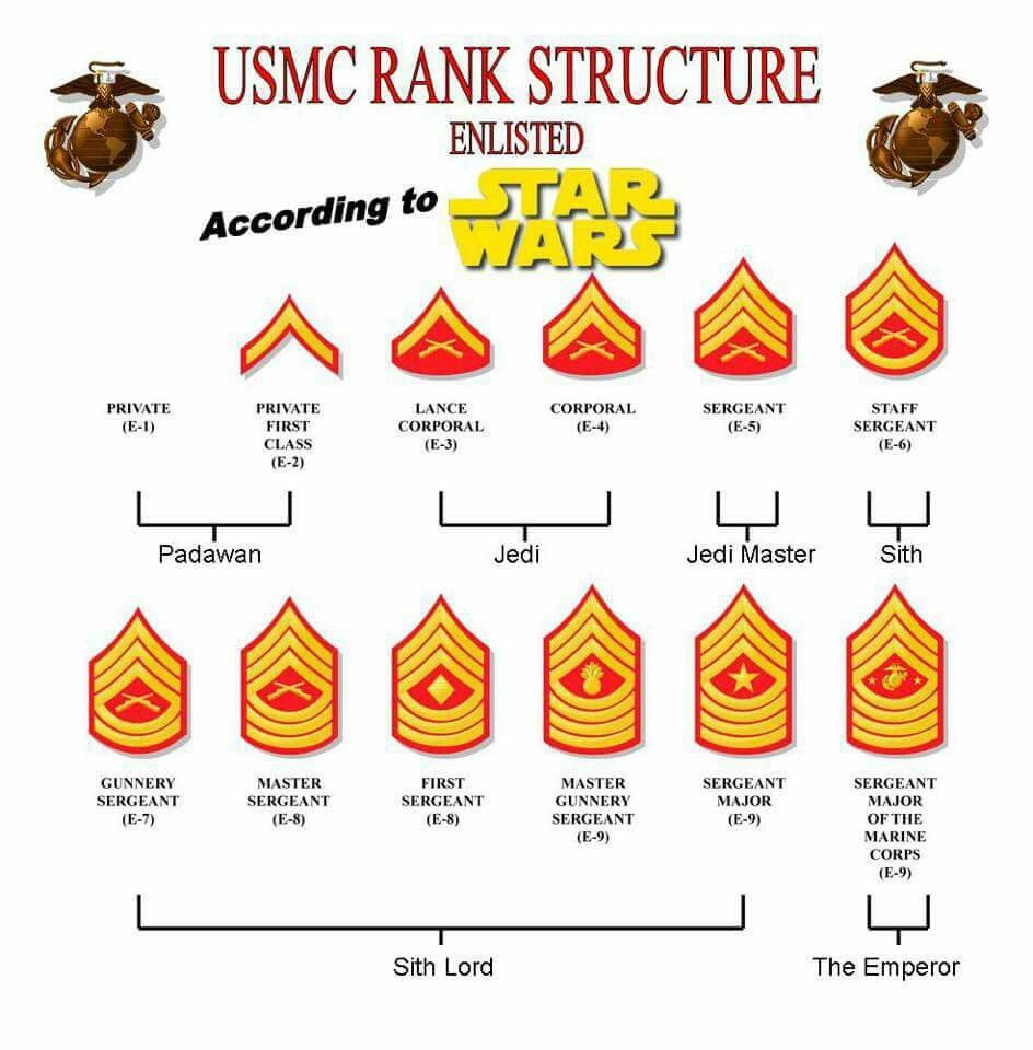 Marine Ranks In Order >> Usmc Rank Order Chart According To Star Wars Isaac S Board