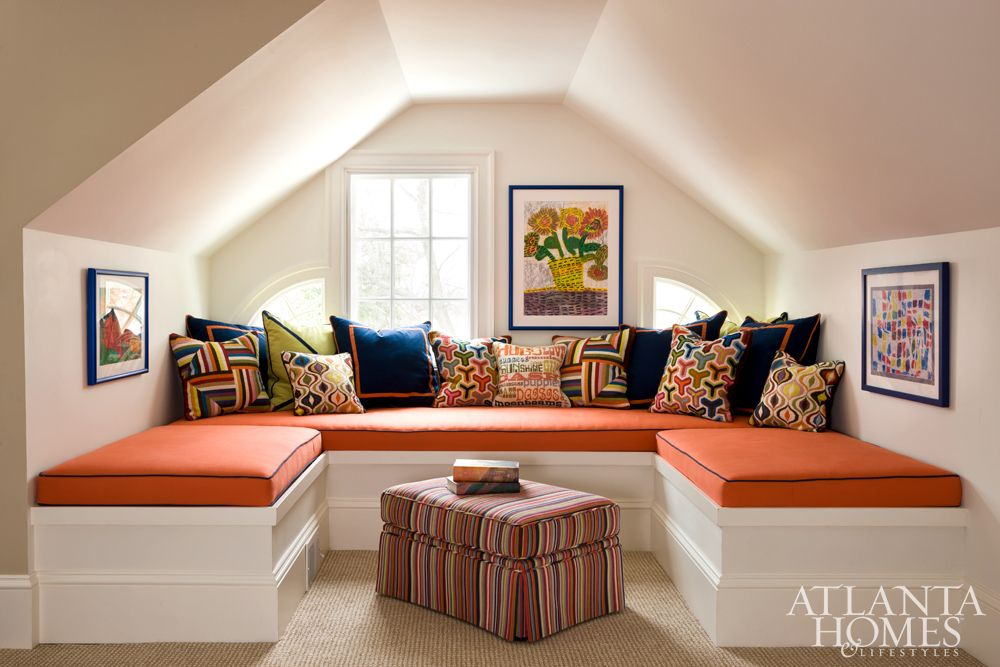 The Home S Attic Is Reimagined As A Colorful Media Room Children S Artwork And Pillows From Jonathan Adler Adorn The S Cozy Family Rooms Happy Room Media Room