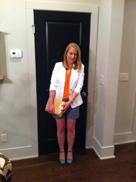 trina turk for banana republic white blazer  naked zebra orange tie blouse  banana republic chambray shorts  louis vuitton vintage clutch  dee keller suede heels    www.acupoflindsayjo.com