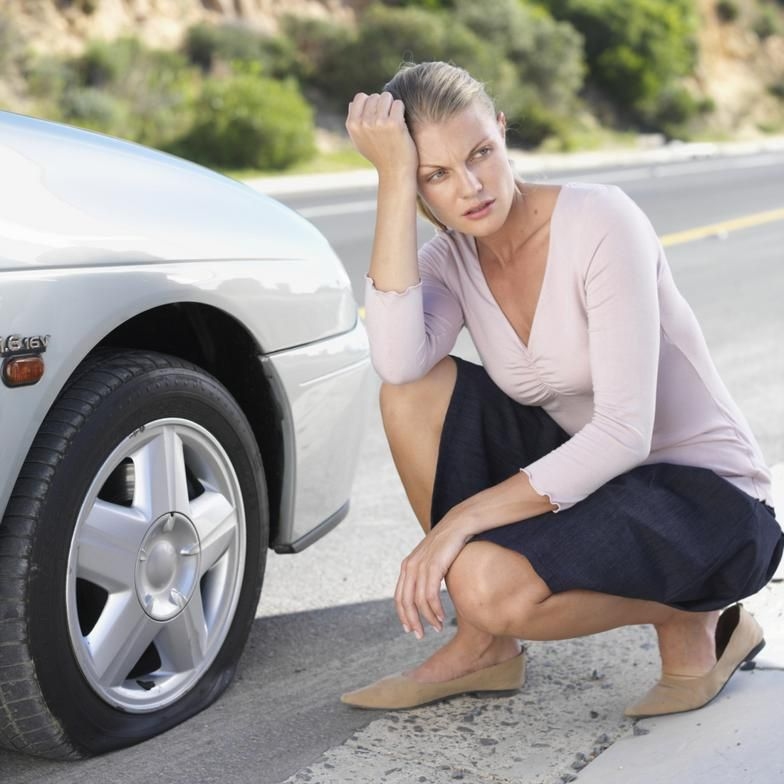 Image result for woman angry with punctured tyre