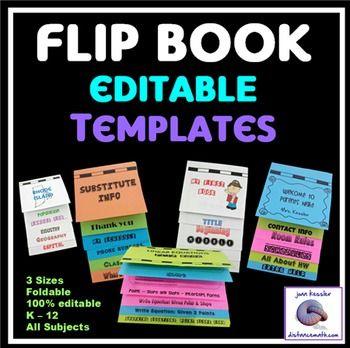 Editable Flip Book Template Bundle Foldable No Mess 3 Sizes Flip Book Template Flip Book Flip Chart Template