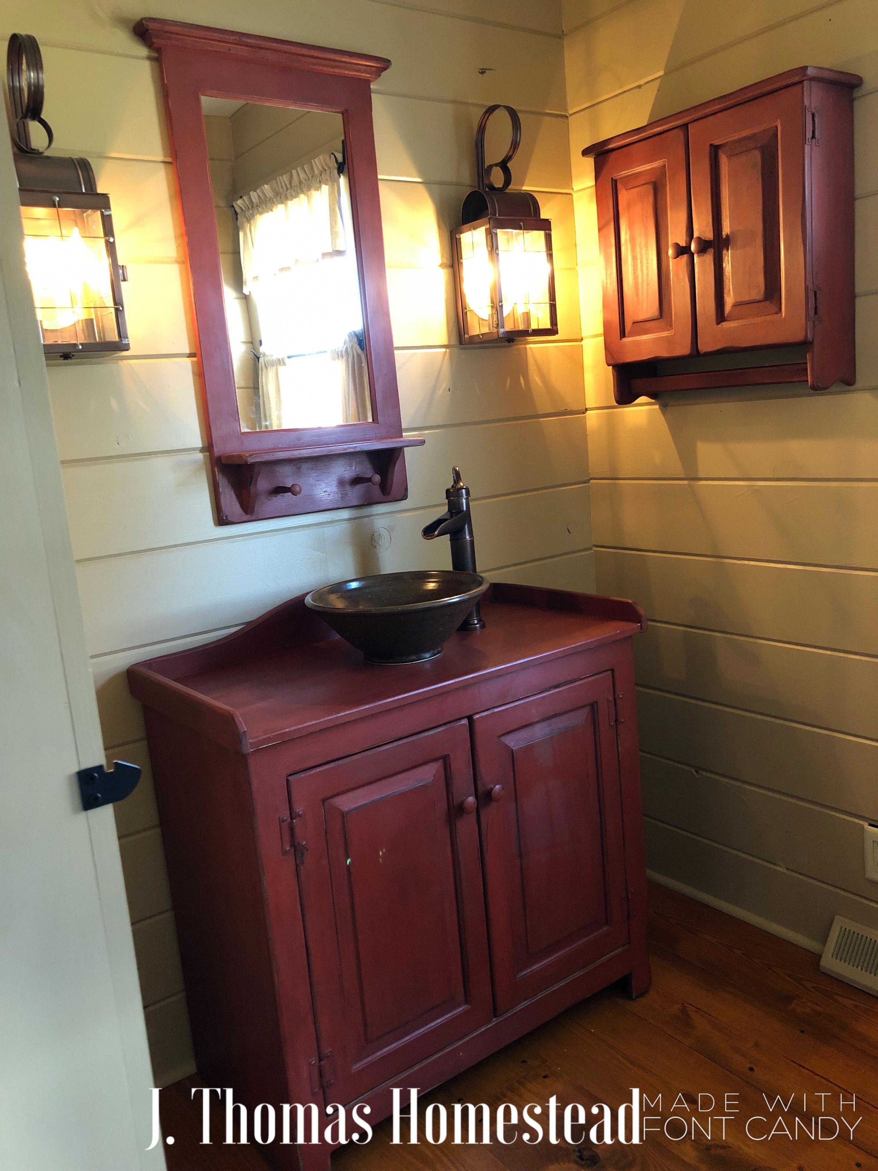 J Thomas Homestead Our Primitive Home Powder Room
