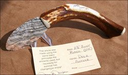 flint ridge OH blade knife deer antler handle flint knapped custom stone knife knives