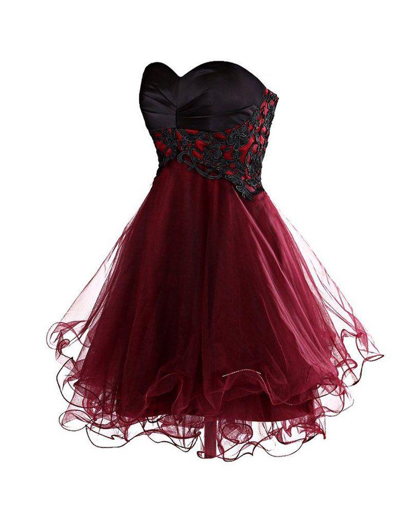 YipGrace Damen Schulterfrei Chiffon Kurz Tanz Party Ballkleider Dunkel Rote M  Prom Dresses